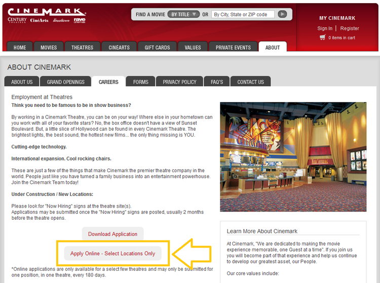 apply Cinemark online step 2