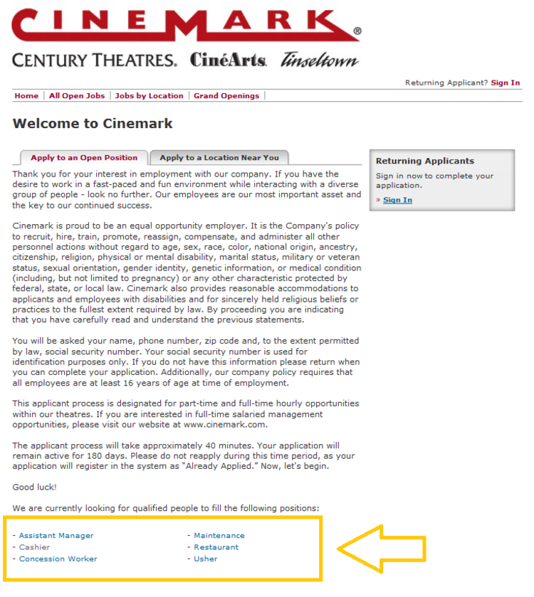 apply Cinemark online step 4