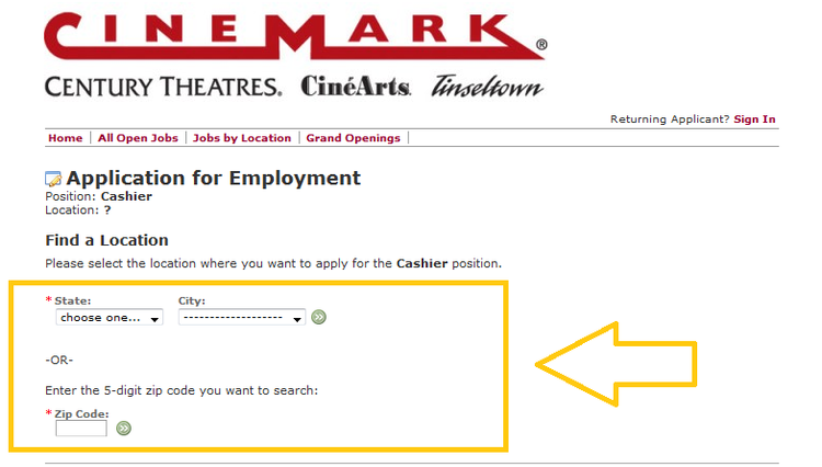 apply Cinemark online step 5