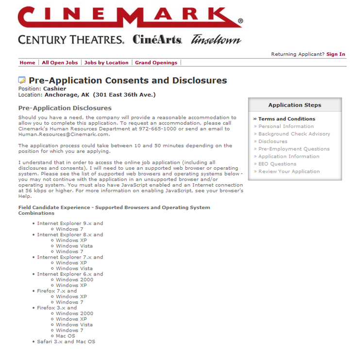 apply Cinemark online step 6