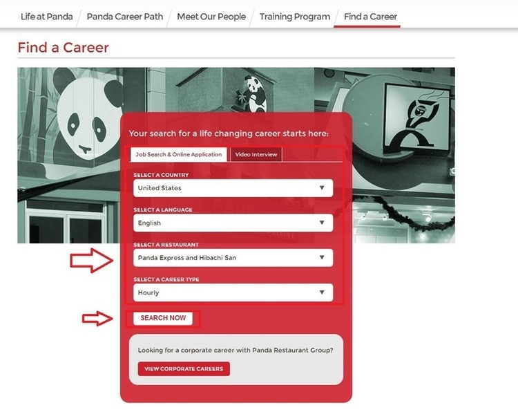 apply Panda Express online step 1