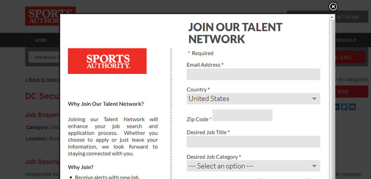 apply Sports Authority online step 5