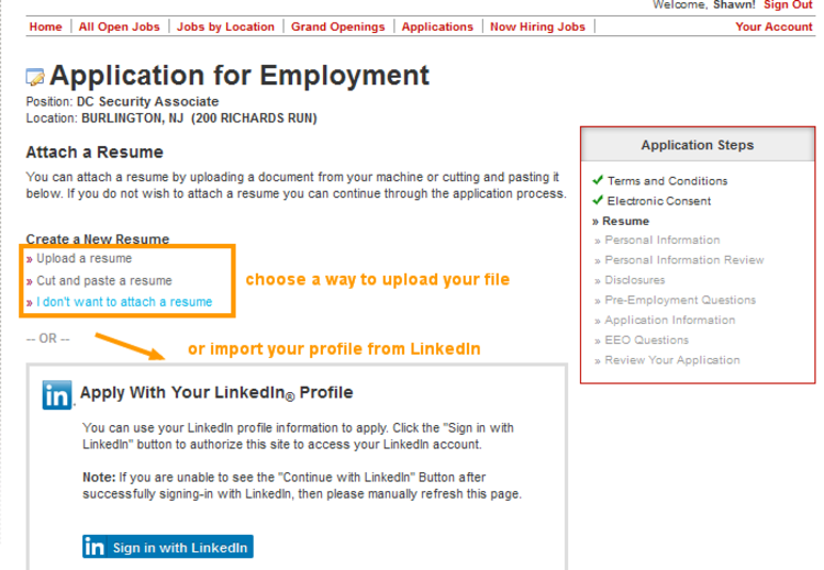 job application for sports authority