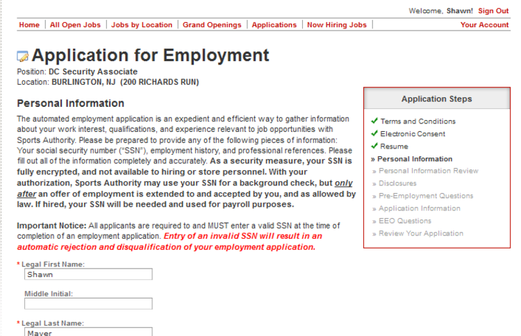 apply Sports Authority online step 9