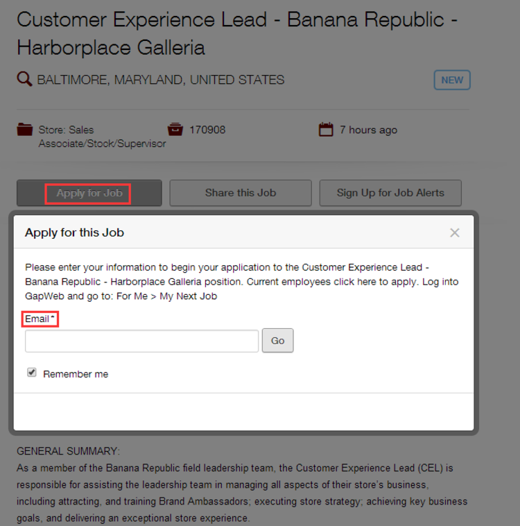 apply Banana Republic online step 2