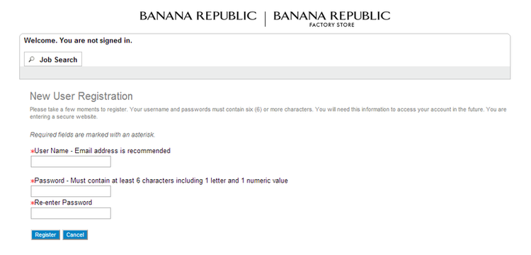 apply Banana Republic online step 3