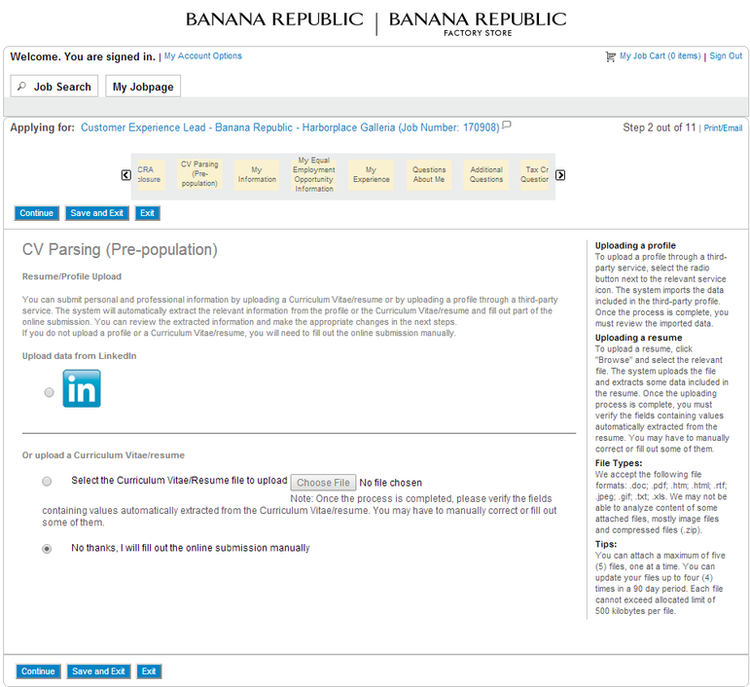 apply Banana Republic online step 4