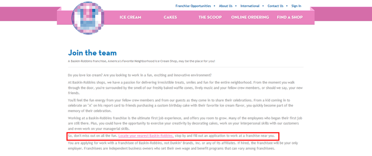 apply Baskin Robbins online step 1