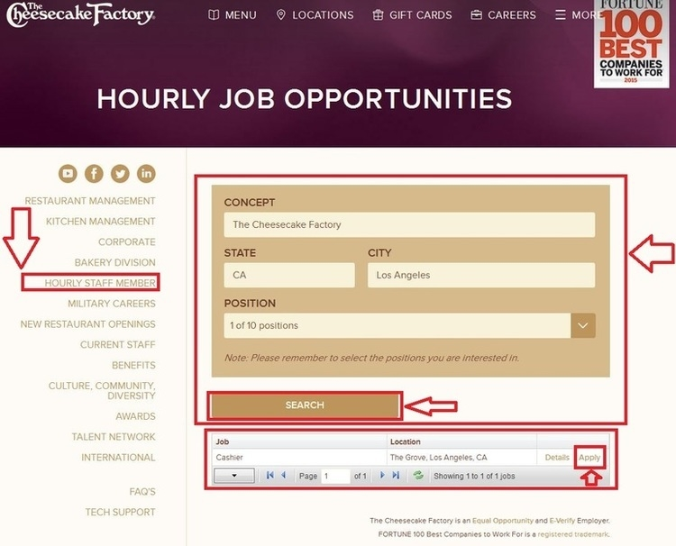 apply Cheesecake Factory online step 2