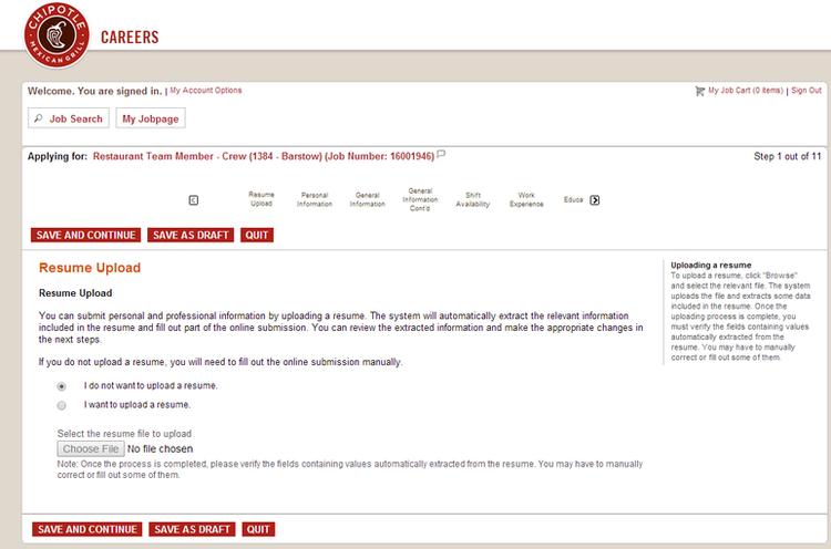 Order resume online chipotle