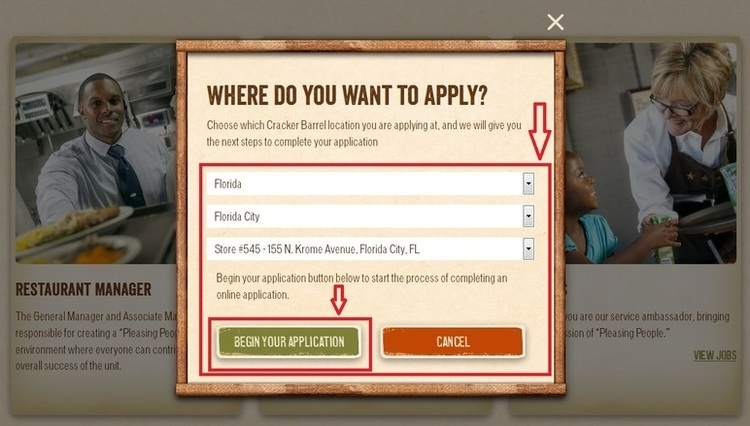 apply Cracker Barrel online step 3