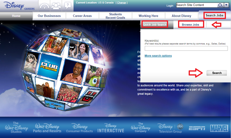 apply Disney online step 1