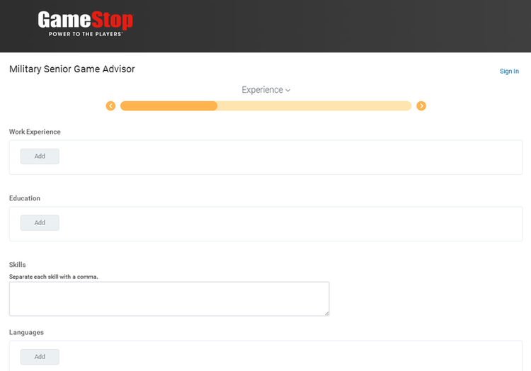 apply GameStop online step 4