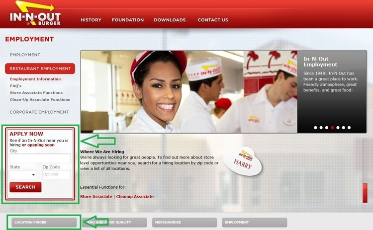 apply In-N-Out Burger online step 2