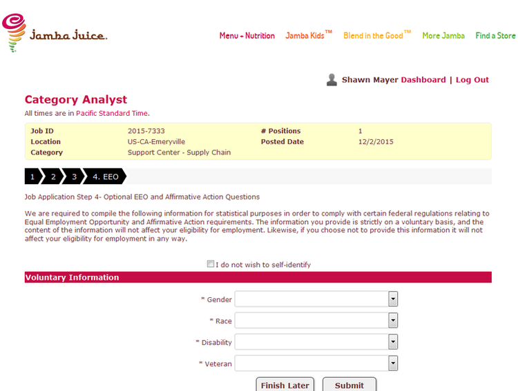 apply Jamba Juice online step 8