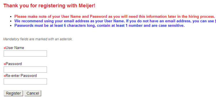 apply Meijer online step 3