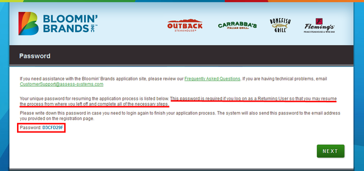 apply Outback Steakhouse online step 2