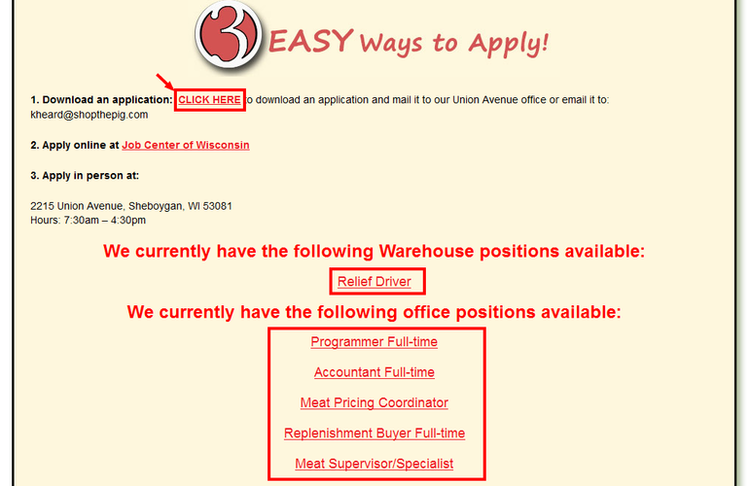 apply Piggly Wiggly online step 1