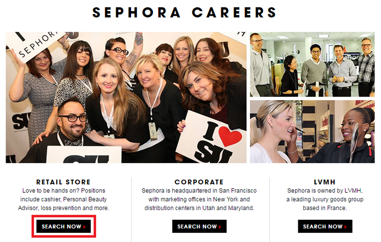 apply Sephora online step 1
