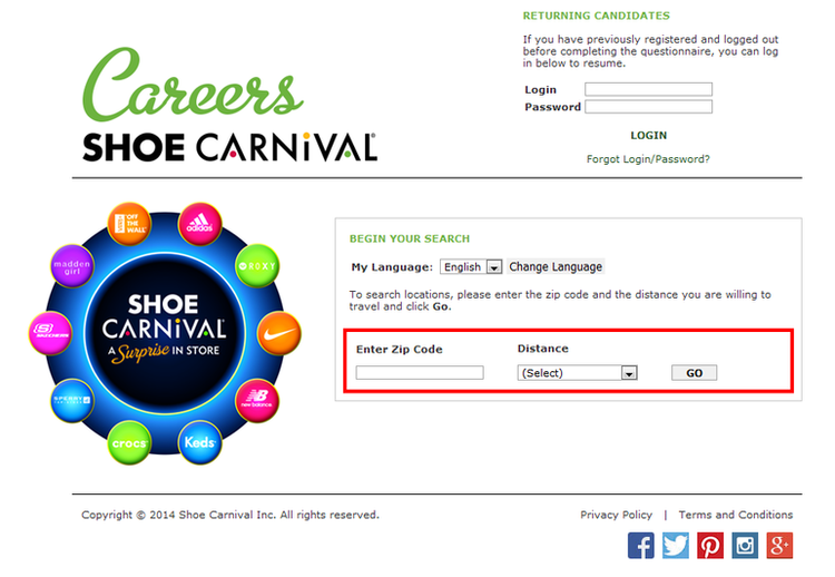 apply Shoe Carnival online step 2