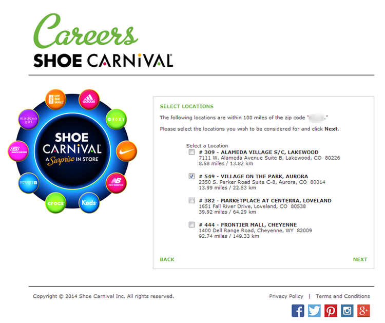 apply Shoe Carnival online step 3