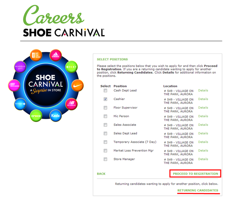 apply Shoe Carnival online step 4