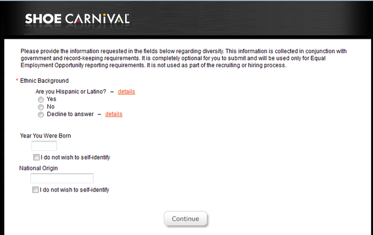 apply Shoe Carnival online step 6