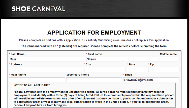Shoe Carnival Job Application Online As an outgrowing and developing company, Shoe Carnival receives applications for different departments of the company. Applicants who would like to work at Shoe Carnival can either provide their online application or directly can contact the human resources.