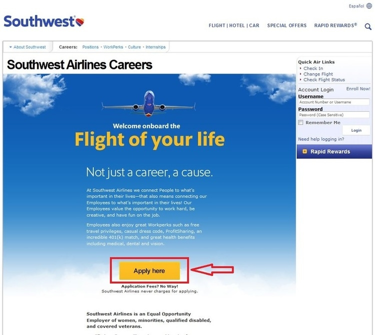 apply Southwest Airlines online step 1
