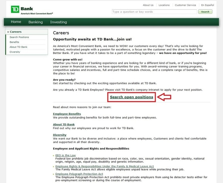 How To Apply For Td Bank Jobs Online At Tdbankcomcareers