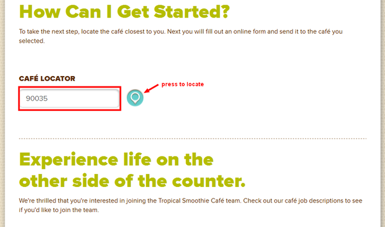 apply Tropical Smoothie online step 1