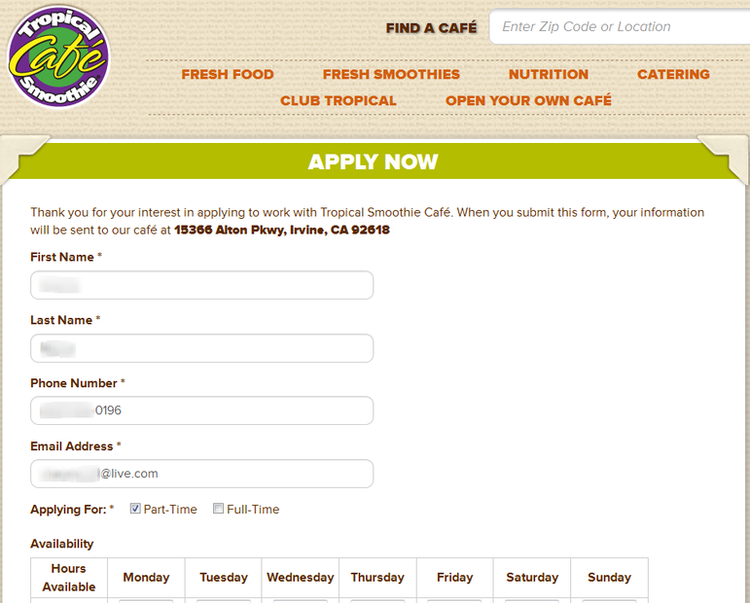 apply Tropical Smoothie online step 3