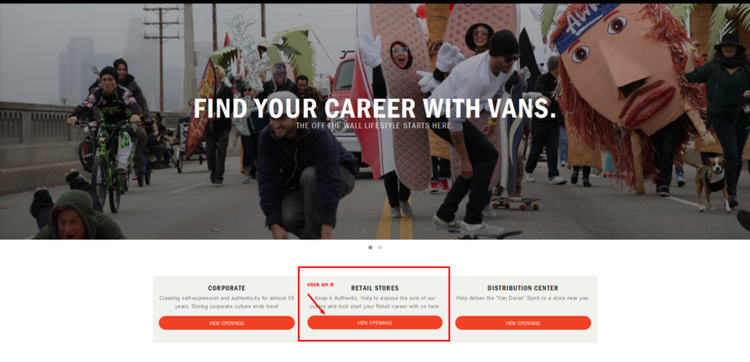 apply Vans online step 1