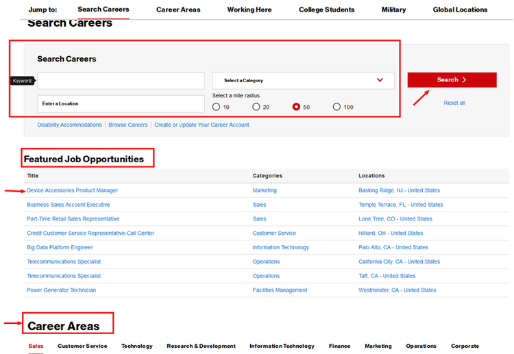 How to Apply for Verizon Jobs Online at www.verizon.com/careers