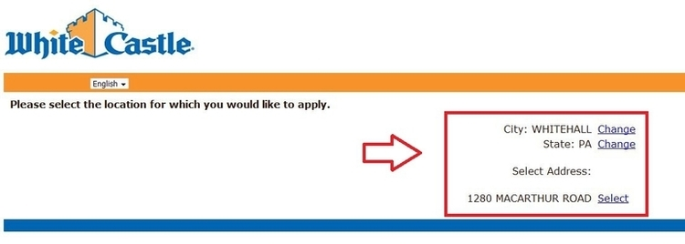 apply White Castle online step 4