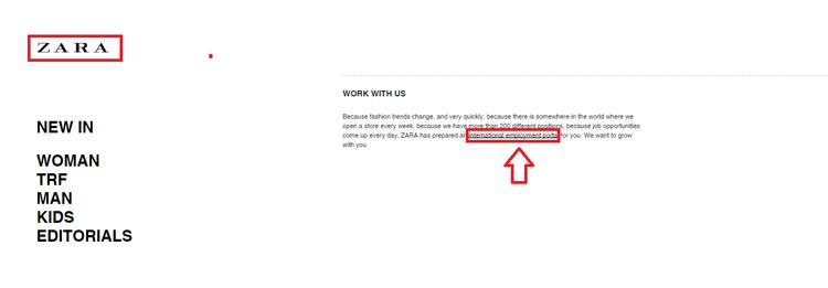 Step 1: Enter Zara Job Application Home Page