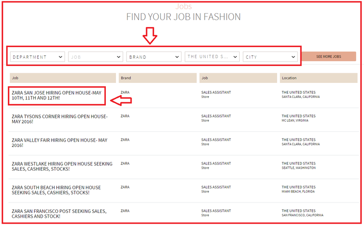 Most frequently opened positions at Zara are entry level positions such as cashier, sales associate, and stockroom associate but for more experienced applicants there are managing and corporate positions in the company. These applicants can apply store managing and assistant managing positions.
