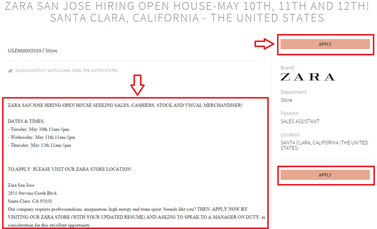 apply Zara online step 4