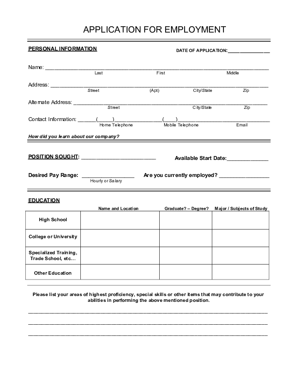 free printable generic job application koni polycode co