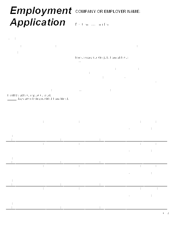 Blank Job Application Form Samples - Download Free Forms ...