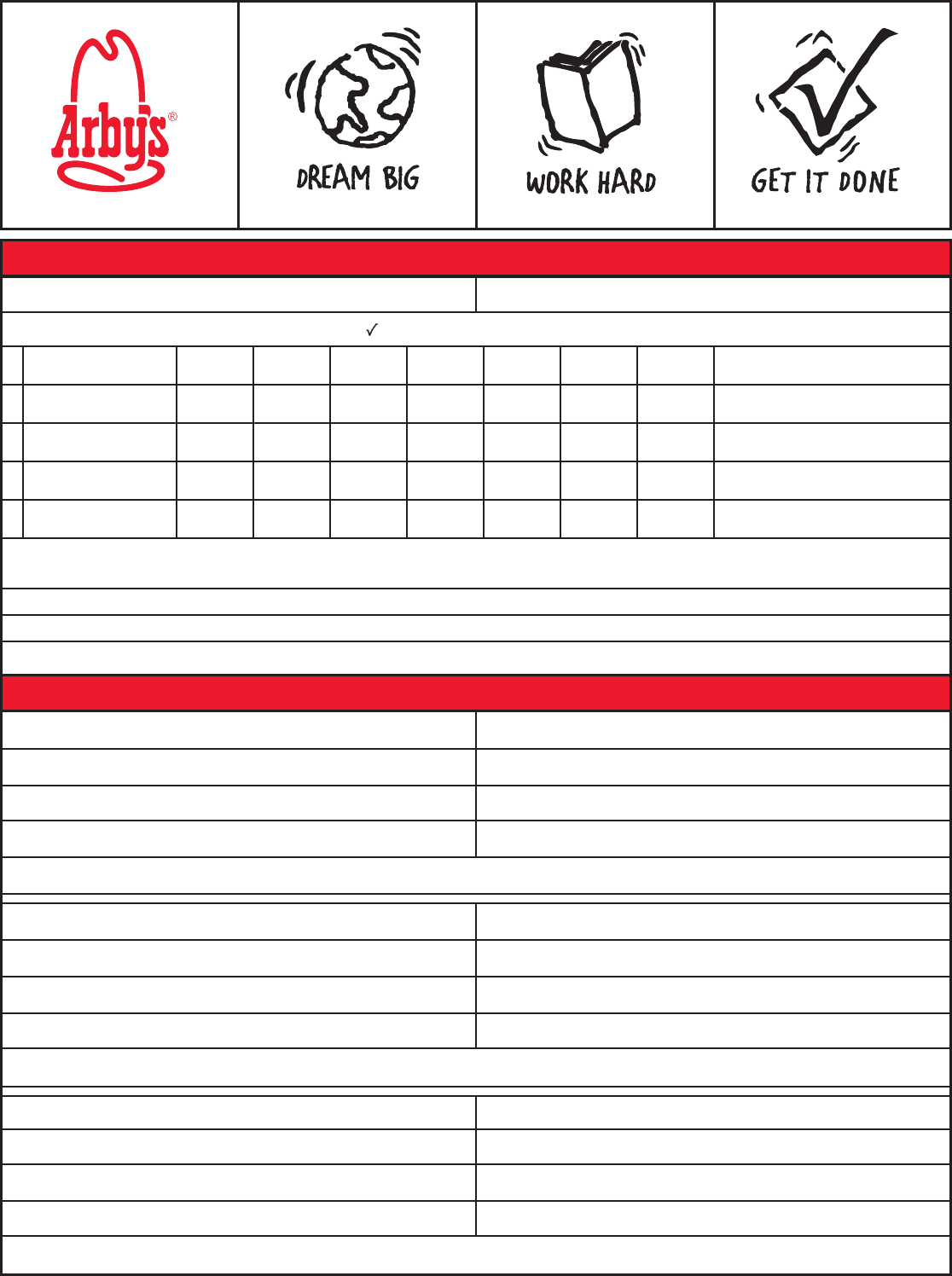 Free Printable Arby\'s Job Application Form Page 2
