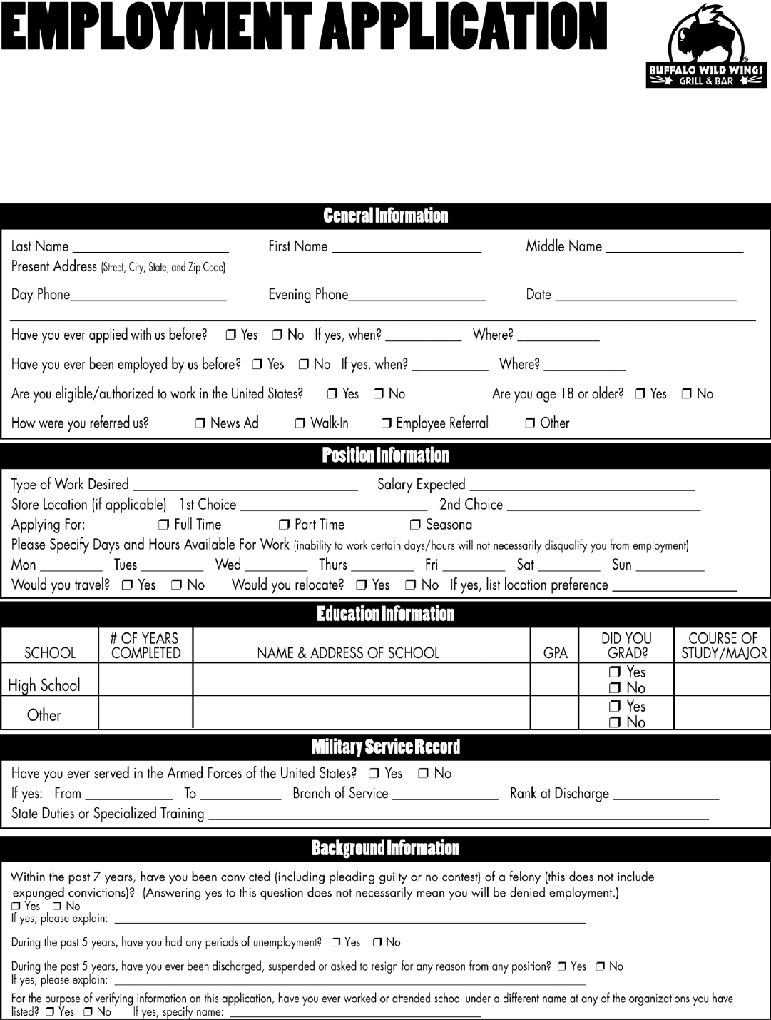 free printable employment application form