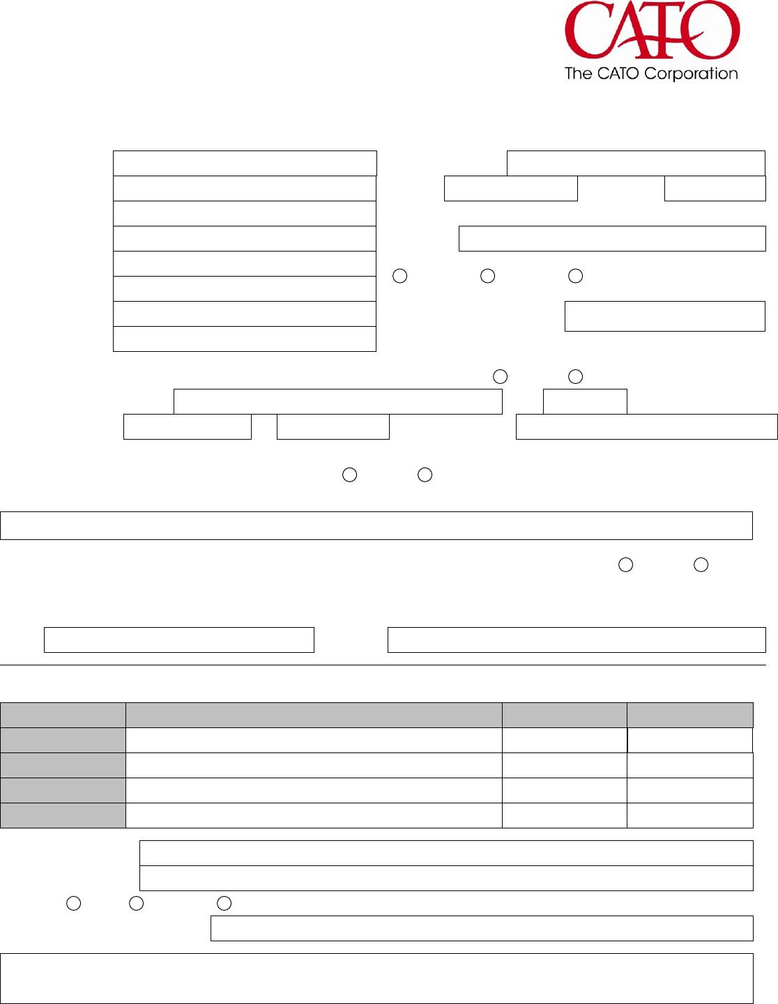 Free printable cato job application form falaconquin