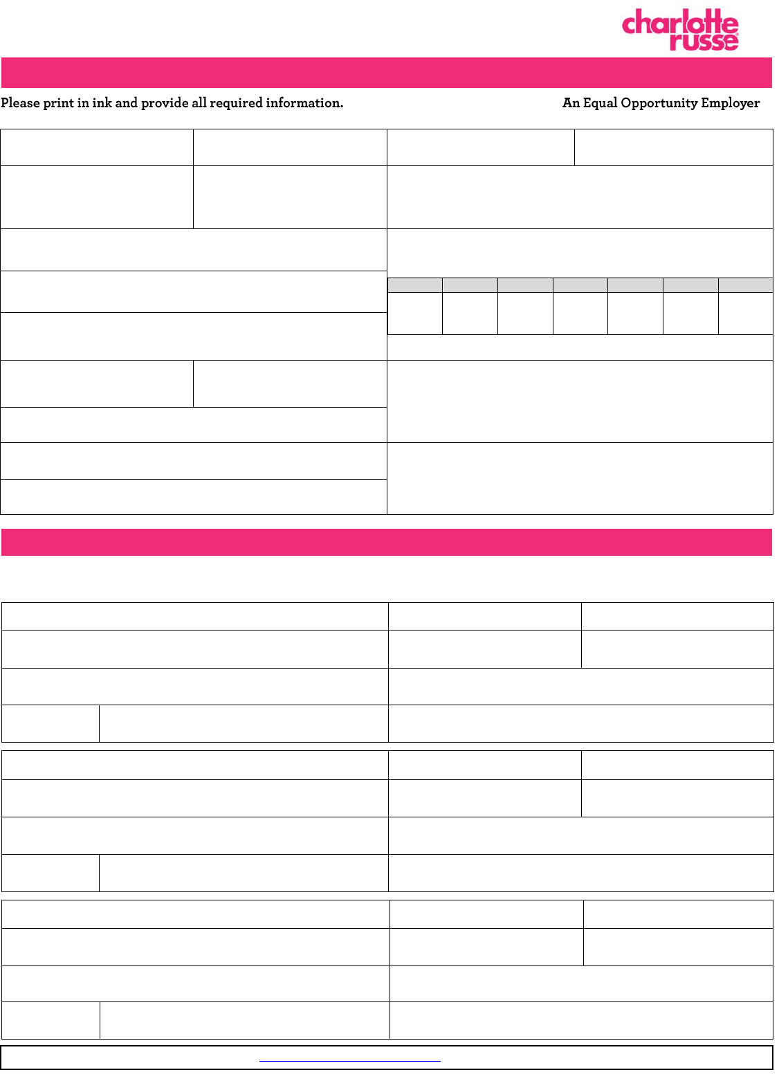 Free Printable Charlotte Russe Job Application Form