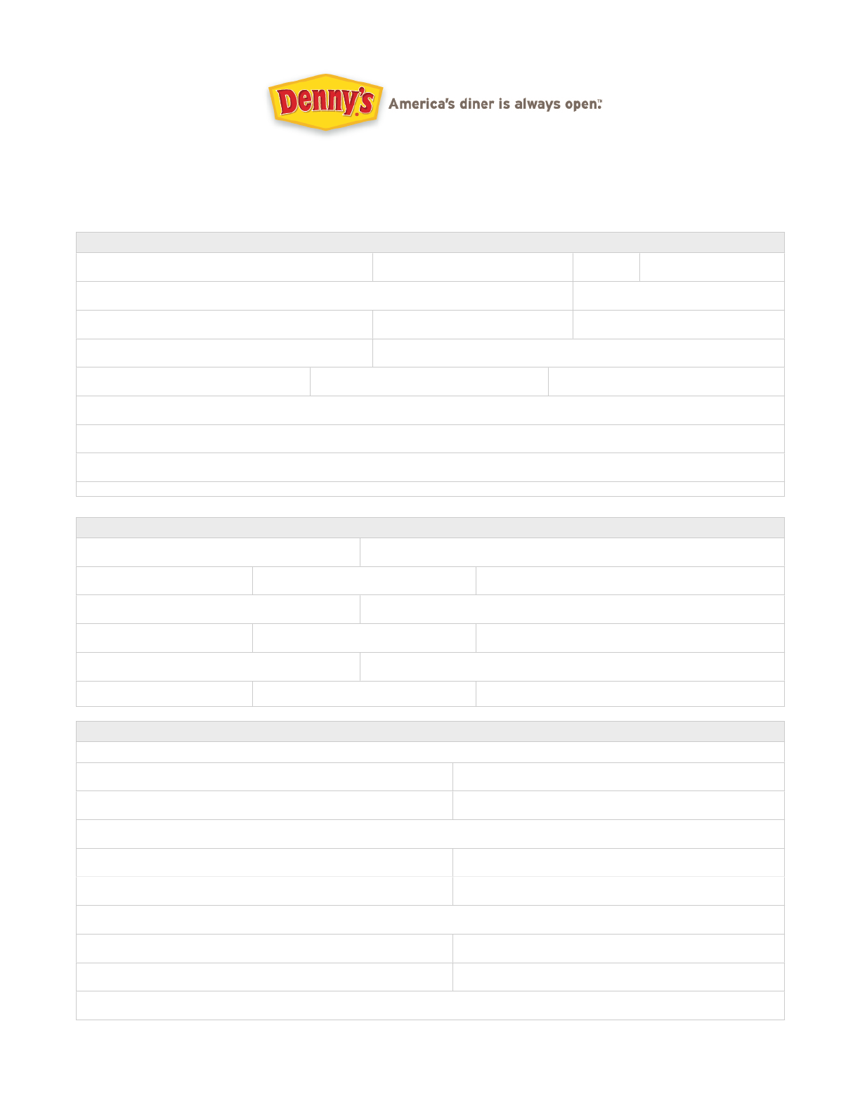 Free Printable Denny\'s Job Application Form