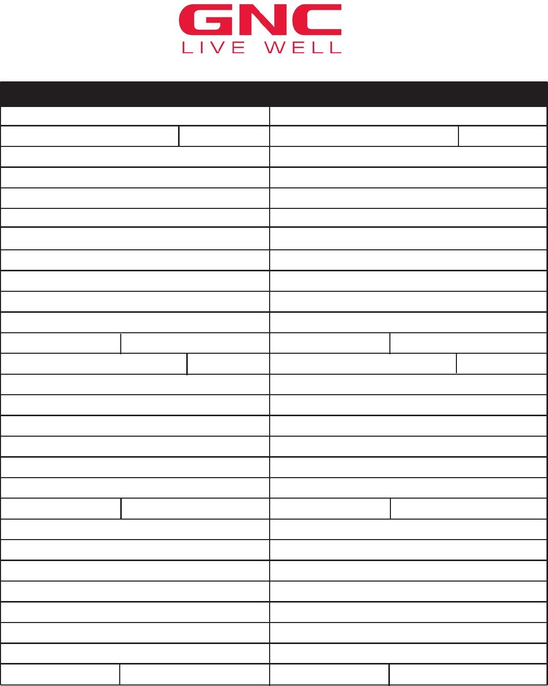 Free Printable GNC Job Application Form Page 5