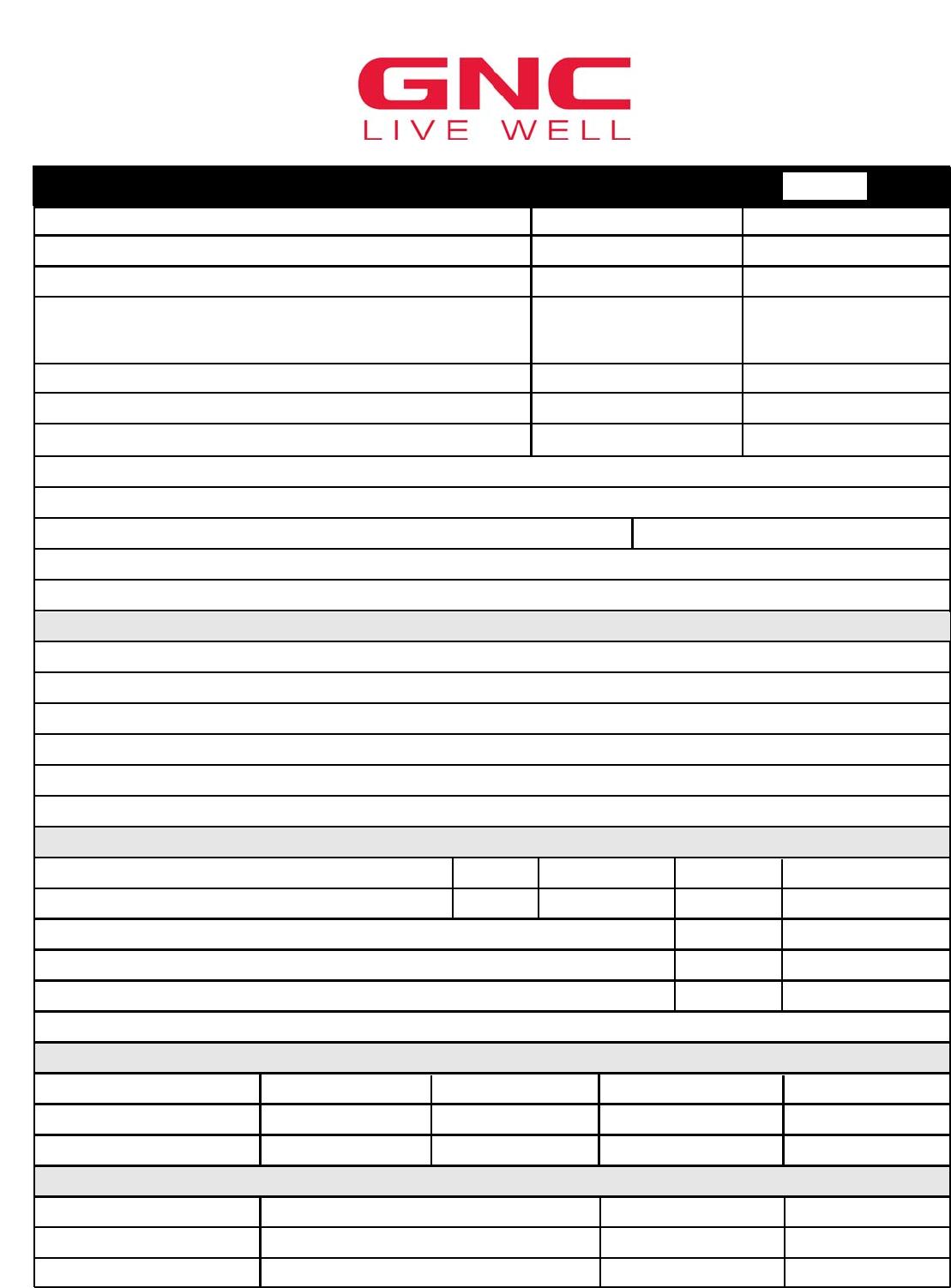 Free Printable GNC Job Application Form Page 8