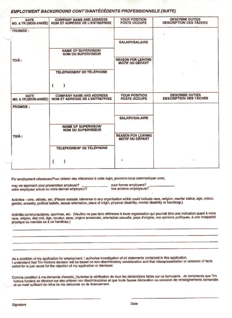 Free Printable Home Depot Job Application Form Page 11