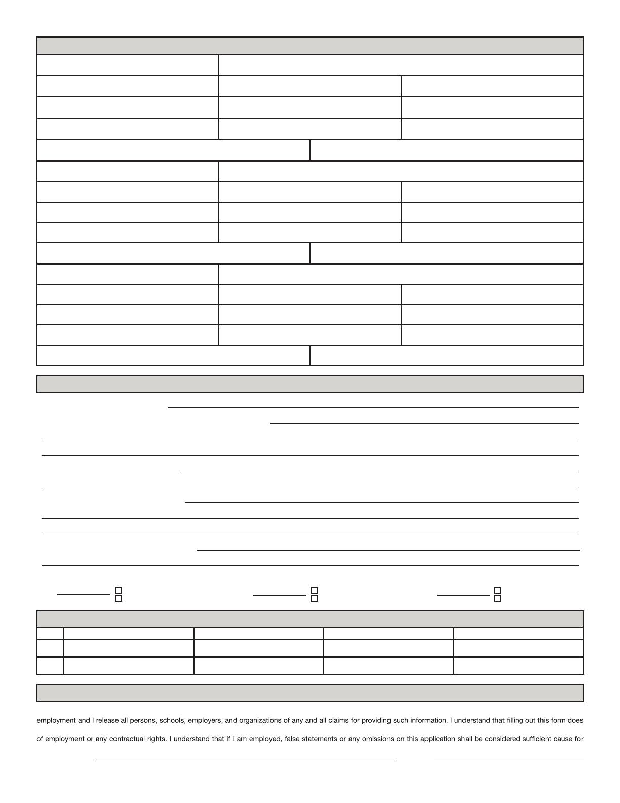 Free Printable Hot Topic Job Application Form Page 2