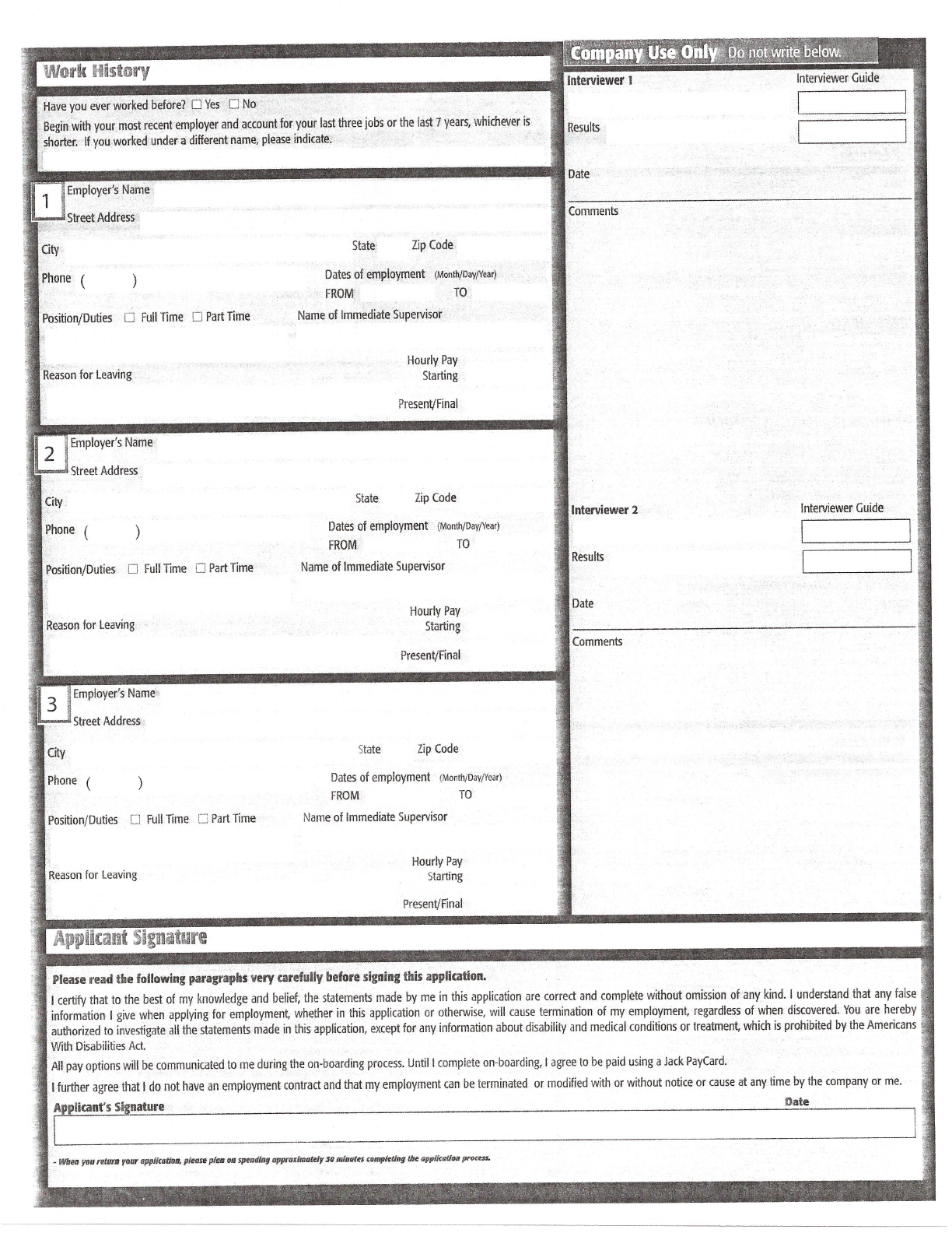 Free Printable Jack In The Box Job Application Form Page 2